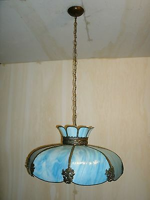 "Antique Farm House Blue & White 8 Panel 24"" Curved Slag Glass Chandelier"