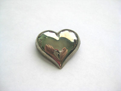 Puffed Heart Sterling Silver Brooch / Pin