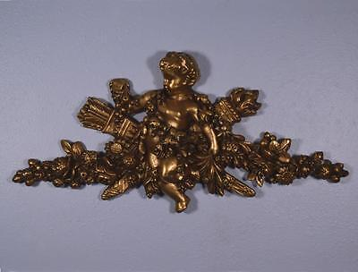 "*24"" French Antique Gilt Pediment Architectural Crown Plaster Crest w/Putto"