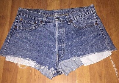 """""""LEVI"""" Denim Frayed Edge Shorts  Sz12 ....32"""" Waist From Urban Outfitters"""