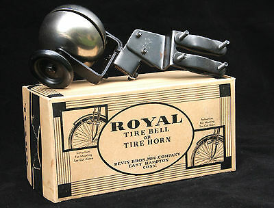 NOS ROYAL Tire Bell - Bevin Brothers Mfg - Mint in Box - circa Mid 1930s