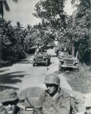 WWII MacArthur's Invasion Troops in Jeeps & Amtracs Moving Inland on Luzon Photo