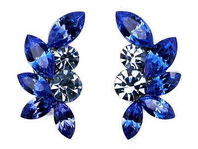 Clip Ons Earrings Gorgeous Sapphire Color Blue Floral