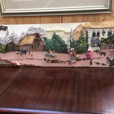 Vintage Wall Art Tapestry Embroidery Craft Wall Hanging Village People