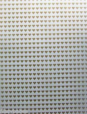 2 x A4 Gold Coloured Hearts on White Vellum NEW