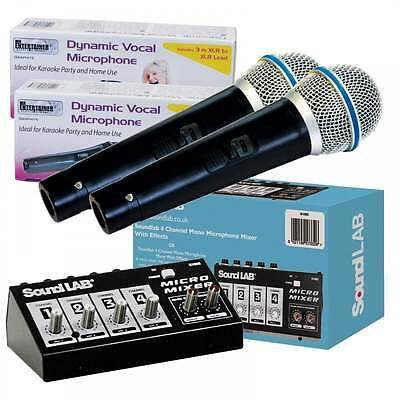 Vocal Echo 4 Channel Mixer Kit inc 2 Microphones For DVD Karaoke TV Conversion