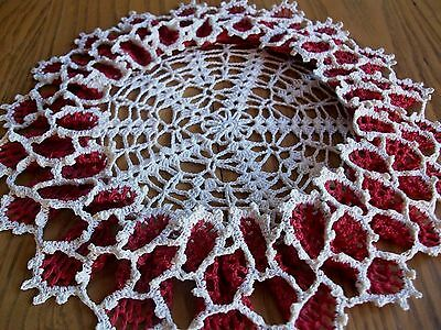 "Beautiful 12"" Antique Hand Crocheted Centerpiece Doily ~ Ruffled ~ Red & Cream"