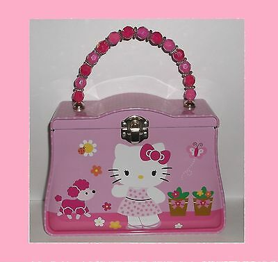 Hello Kitty Tin Lunch Box / Purse With Beaded Handle
