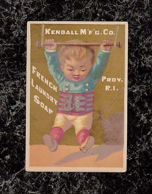 Boy on Trapeze French Laundry Soap Kendall Co Victorian Trade Card Providence RI