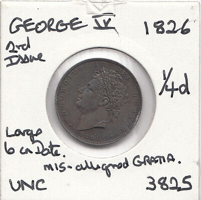 """1826 GEORGE IV FARTHING S3822 """"UNC""""  2nd ISSUE WITH MANY ERRORS SEE DESCRIPT"""