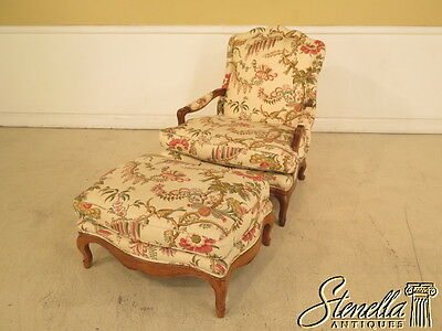 28026: Country French Upholstered Chair & Ottoman Chaise