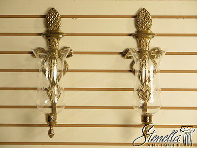 37420E: Pair VIRGINA METAL CRAFTERS Federal Wall Sconces w/ Glass Globes