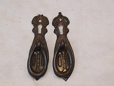 2x RECLAIMED ART NOUVEAU METAL DOOR CUPBOARD CABINET BUREAU PULL HANDLE KEY LOCK