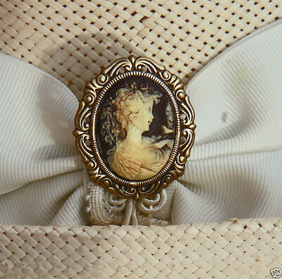 Victorian Lady On Cameo - Antique Brass Finish Hatpin
