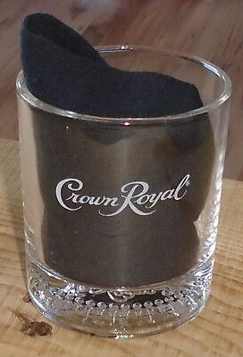 Vintage Crown Royal Glass Embossed Bottom Great Graphics Like New