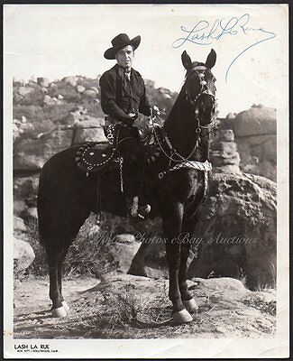 LASH LA RUE western actor horseback SIGNED VINTAGE ORIG PHOTO 8x10