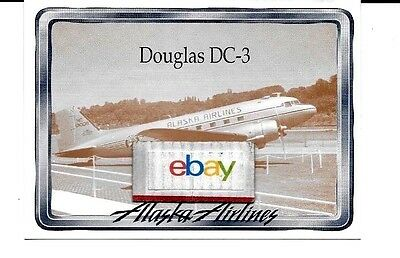 Alaska Airlines Douglas Dc-3 At Seattle Boeing Field Collector Card