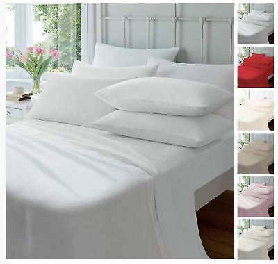 Extra Deep Flannelette Fitted Sheets, Warm Soft Brushed Cotton Bed Sheets