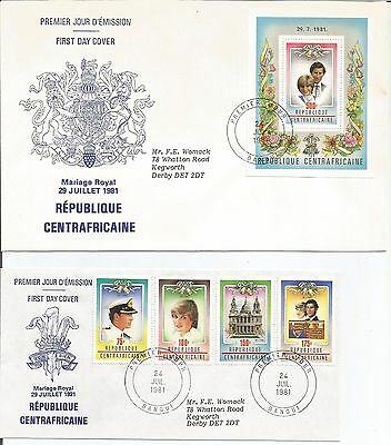 Central African 1981  Royal Wedding  HRH Diana Princess Wales  FDI FDC Cover x 2