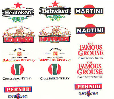 14 BEER RELATED DECAL WATERSLIDES ideal FOR MODELS CODE 3 NEW ie dinky lledo