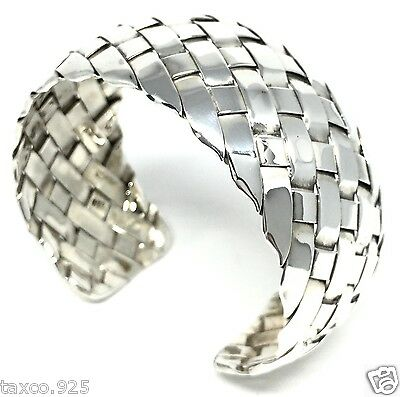 Taxco Mexican 925 Sterling Silver Modern Weave Cuff Bracelet Mexico