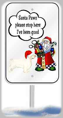 Clumber Spaniel Christmas yard sign metal 8x12 plaque Santa Paws