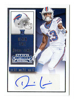 Dezmin Lewis Nfl 2015 Panini Contenders Auto Rookie Card (Buffalo Bills)