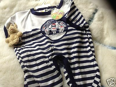 VINTAGE  CLOTHING BABY INFANT CHILDRENS ROMPER 18 MONTHS  70s NAVY/WHITE UNUSED