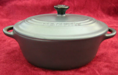 Le Creuset Small Individual Grey Ceramic Pottery Casserole Dish Pot with Lid