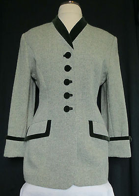 Louis Feraud vintage womens lovely wool rich smart fitted tweed jacket, size 14