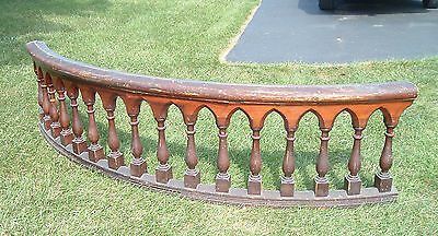 Antique Church Altar Rail / 19th Century / Curved , Oak , Gothic , 9 Feet Long