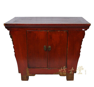 Chinese Antique 2 doors Red Lacquered Cabinet 28T02