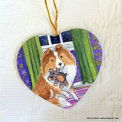 SHELTIE SHETLAND CERAMIC HEART SHAPE ORNAMENT by Amy Bolin BEDTIME BUDDIES