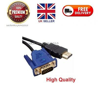 HDMI Male to VGA Male Video Converter Adapter Cable for DVD 1080P HDTV PC - 2M
