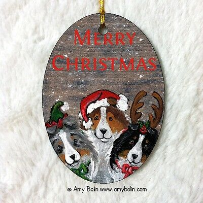 SHELTIE SHETLAND CERAMIC Oval ORNAMENT by Amy Bolin CHRISTMAS BUDDIES