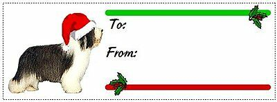 Bearded Collie Beardie Christmas gift tags WATERPROOF 120 pieces