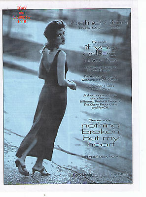 """1992 Celine Dion """"If You Asked Me To"""" Song Trade Print Advertisement"""