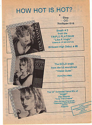 "1985 Madonna ""How Hot Is Hot?"" Canadian Records & Tour Trade Print Advertisement"