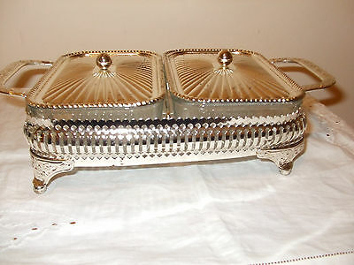 Vintage Silver Plated Serving dish with 2 compartments