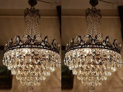 PAIR OF Antique Vnt.HUGE French Basket Style Crystal Chandelier Lamp 1940's.17in