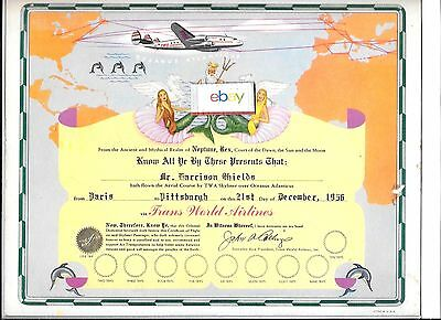 Twa Trans World Airlines 1956 Constellation Paris To Pittsburgh Certificate