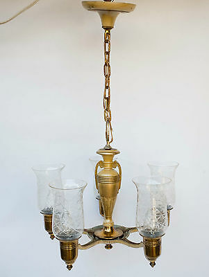 Vintage Neo Classical Style 5 FIVE Arm Chandelier CUT GLASS SHADES