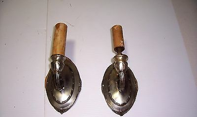2 Vintage Old Metal Wall Sconces Pull Chains Fixture Light Decor Craft Reuse