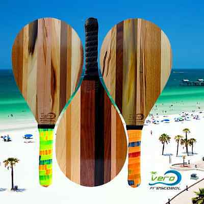 One Frescobol Solid Walnut, Maple, Hickory, Cherry Wood racket Beach Paddle