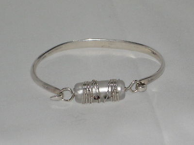"""Sterling Silver 925 Cuff Bangle Bracelet Wire Wrap Glass Bead & Crystals 6 1/2"""""""