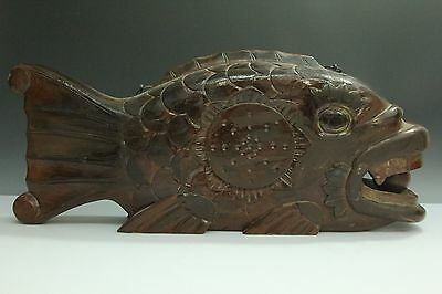 """Japanese Antique Wood Lacquer Ware Drum """"gyoban"""" For Buddhist Temple"""
