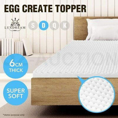 Deluxe Egg Crate Mattress Topper 6CM Foam Underlay Protector Double Size