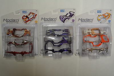 Modarri Ultimate Toy Car Body Booster Pack Lot of 3 T1 Le Mans S1 Chrome X1 Fire