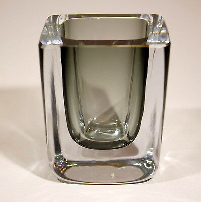 "Scandinavian Art Glass ""Clear on Gray"" Cased Block Vase Ground Polished 1950s"