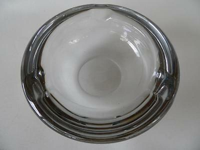 Vintage Heavy Large French Vannes Art Glass Clear Crystal  Ashtray Cigar Bowl